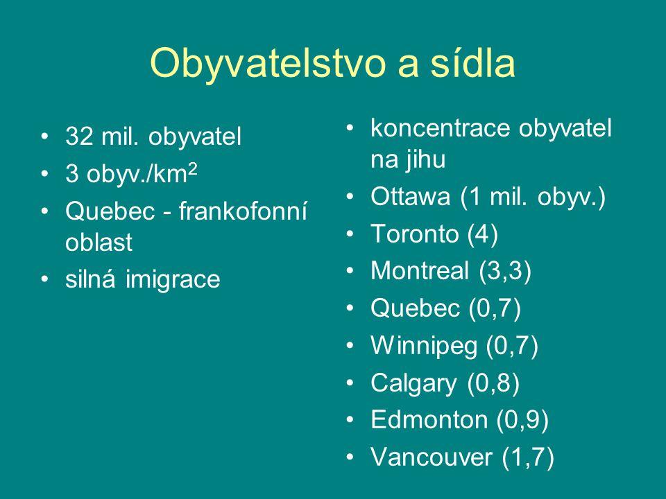 Obyvatelstvo a sídla 32 mil. obyvatel 3 obyv./km 2 Quebec - frankofonní oblast silná imigrace koncentrace obyvatel na jihu Ottawa (1 mil. obyv.) Toron