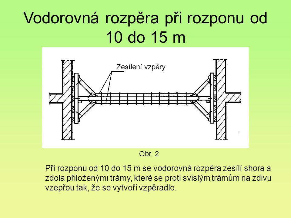 Vodorovná rozpěra při rozponu od 10 do 15 m Při rozponu od 10 do 15 m se vodorovná rozpěra zesílí shora a zdola přiloženými trámy, které se proti svis