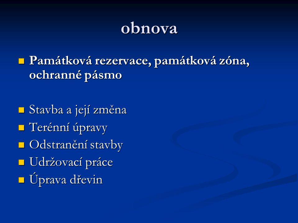 obnova Památková rezervace, památková zóna, ochranné pásmo Památková rezervace, památková zóna, ochranné pásmo Stavba a její změna Stavba a její změna