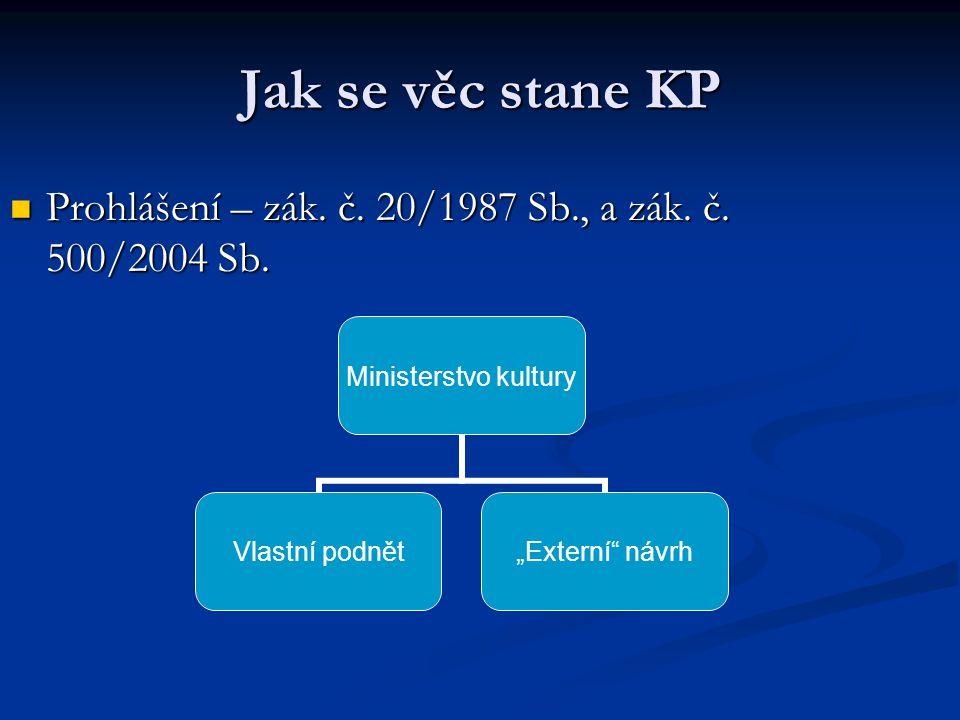 Jak se věc stane KP Prohlášení – zák. č. 20/1987 Sb., a zák. č. 500/2004 Sb. Prohlášení – zák. č. 20/1987 Sb., a zák. č. 500/2004 Sb. Ministerstvo kul