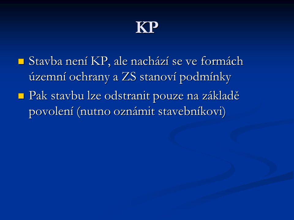 KP Stavba není KP, ale nachází se ve formách územní ochrany a ZS stanoví podmínky Stavba není KP, ale nachází se ve formách územní ochrany a ZS stanoví podmínky Pak stavbu lze odstranit pouze na základě povolení (nutno oznámit stavebníkovi) Pak stavbu lze odstranit pouze na základě povolení (nutno oznámit stavebníkovi)