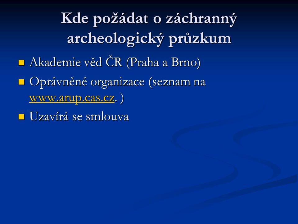 Kde požádat o záchranný archeologický průzkum Akademie věd ČR (Praha a Brno) Akademie věd ČR (Praha a Brno) Oprávněné organizace (seznam na www.arup.c