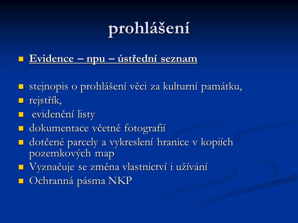prohlášení Evidence – npu – ústřední seznam Evidence – npu – ústřední seznam stejnopis o prohlášení věci za kulturní památku, stejnopis o prohlášení v