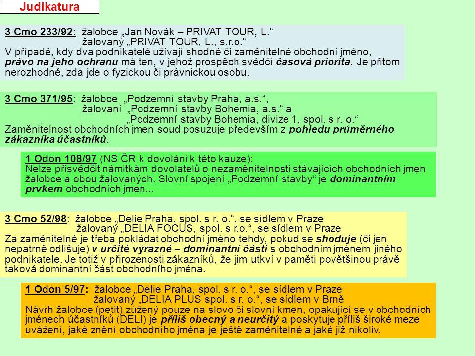 "Judikatura 3 Cmo 371/95: žalobce ""Podzemní stavby Praha, a.s. , žalovaní ""Podzemní stavby Bohemia, a.s. a ""Podzemní stavby Bohemia, divize 1, spol."