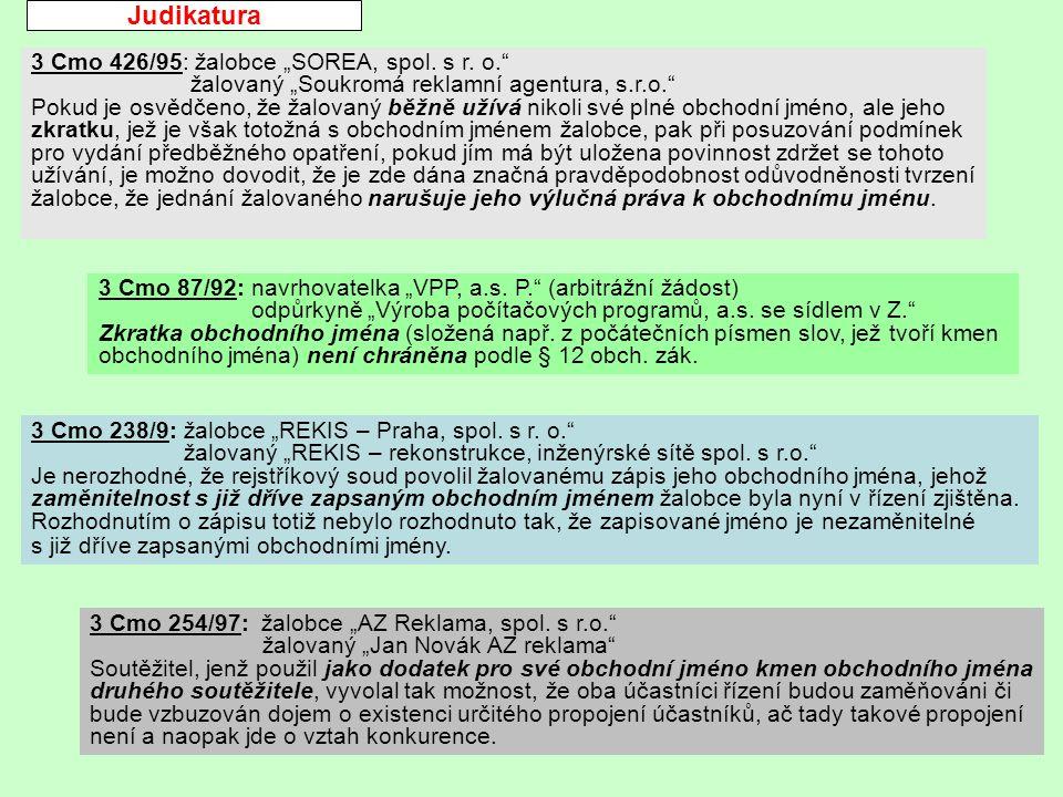 "Judikatura 3 Cmo 426/95: žalobce ""SOREA, spol. s r."