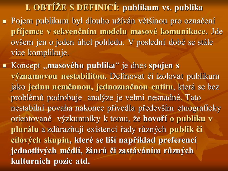 TYPY PUBLIKA A FORMY JEHO ZKUŠENOSTI TYPY PUBLIKA A FORMY JEHO ZKUŠENOSTI ZKUŠENOST PUBLIKA JEDNODUCHÉMASOVÉROZPTÝLENÉ KomunikacePřímáMediovanáPropojená Lokální/globálníLokálníGlobálníUniverzální CeremoniálnostVysokáStředníNízká Veřejná/privátníVeřejnáPrivátní Privátní i veřejná VzdálenostProducenti/konzumentiVelká Extrémně velká Malá PozornostVysokáProměnlivá Nepozornost, lhostejnost