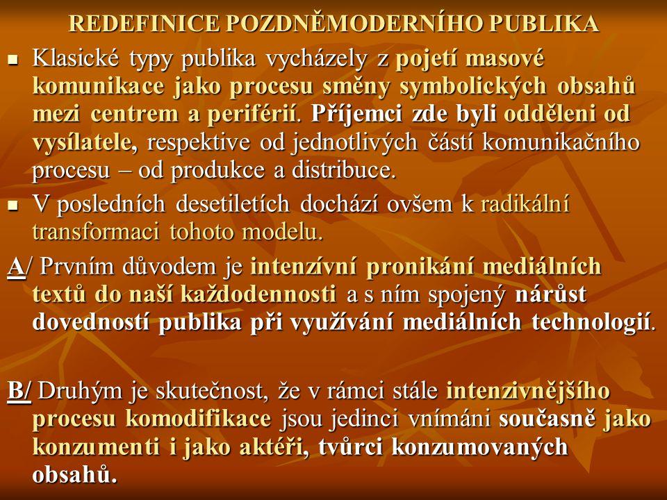 REDEFINICE POZDNĚMODERNÍHO PUBLIKA Klasické typy publika vycházely z pojetí masové komunikace jako procesu směny symbolických obsahů mezi centrem a periférií.