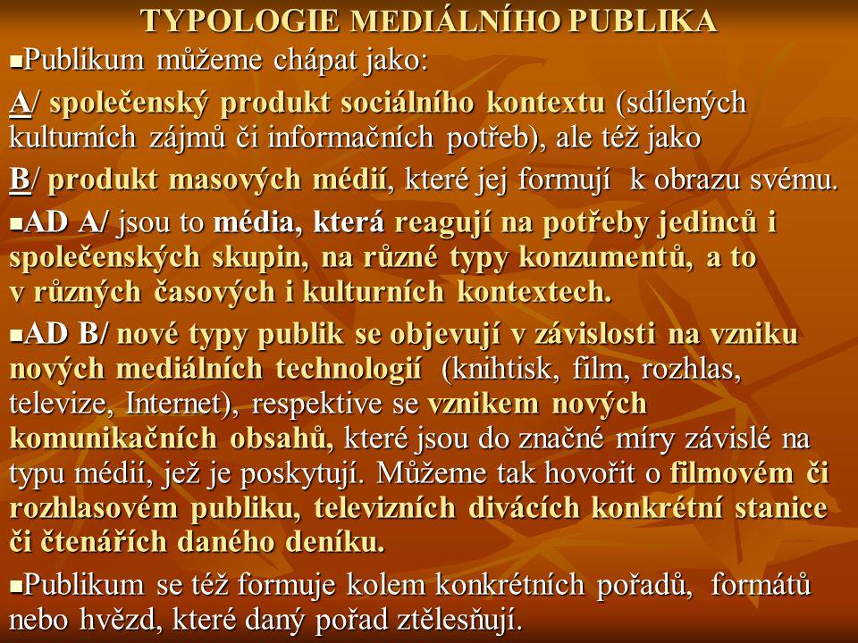 TYPOLOGIE PUBLIKA: KATEGORIZAČNÍ KRITÉRIA Podle typu komunikačního vztahu mezi vysílajícím a příjemcem: Podle typu komunikačního vztahu mezi vysílajícím a příjemcem: 1/ typ užívaného média (p.