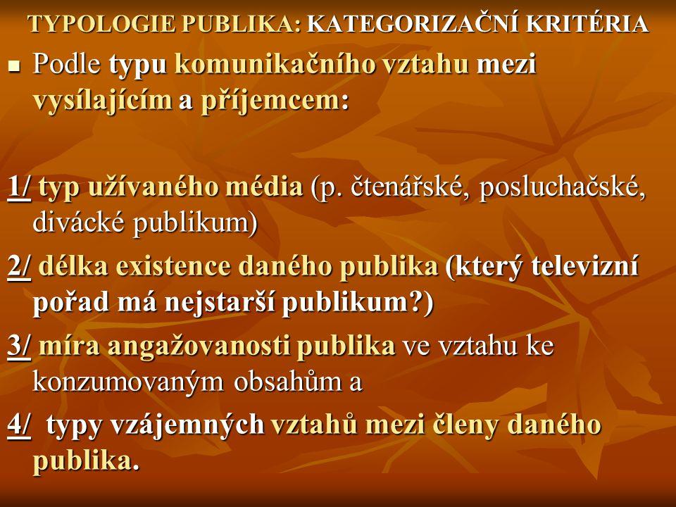 TYPOLOGIE PUBLIKA: KATEGORIZAČNÍ KRITÉRIA Podle typu komunikačního vztahu mezi vysílajícím a příjemcem: Podle typu komunikačního vztahu mezi vysílajíc