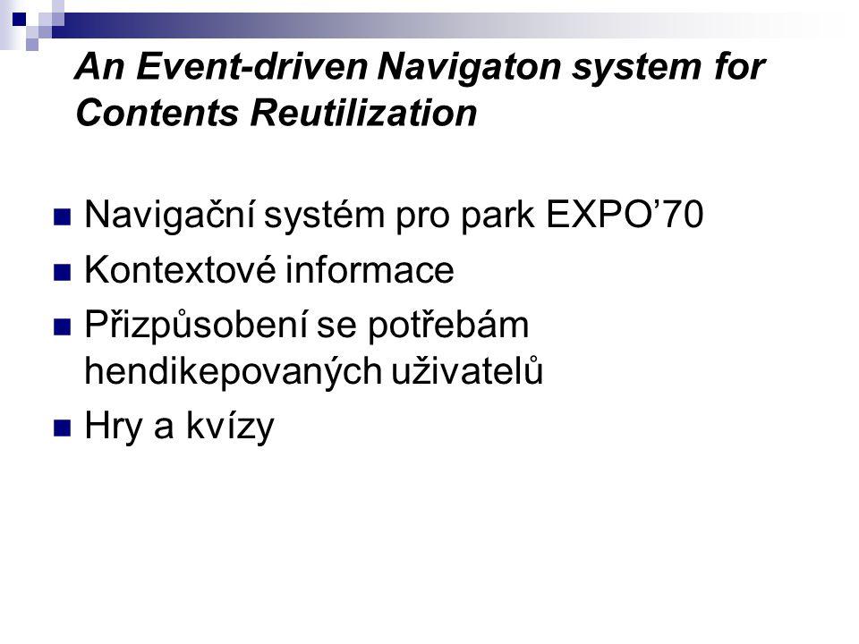 An Event-driven Navigaton system for Contents Reutilization Navigační systém pro park EXPO'70 Kontextové informace Přizpůsobení se potřebám hendikepovaných uživatelů Hry a kvízy