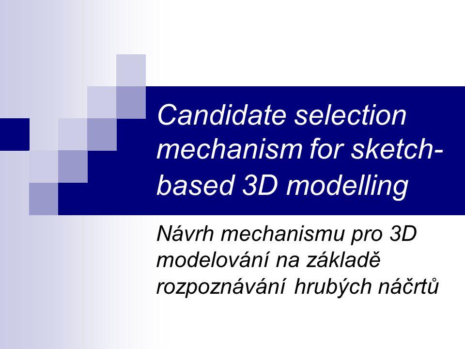 Candidate selection mechanism for sketch- based 3D modelling Návrh mechanismu pro 3D modelování na základě rozpoznávání hrubých náčrtů