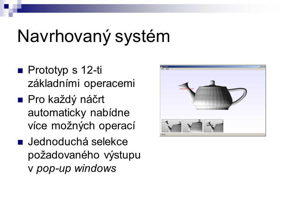 Navrhovaný systém Prototyp s 12-ti základními operacemi Pro každý náčrt automaticky nabídne více možných operací Jednoduchá selekce požadovaného výstupu v pop-up windows
