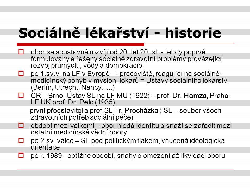 Sociálně lékařství - historie  obor se soustavně rozvíjí od 20. let 20. st. - tehdy poprvé formulovány a řešeny sociálně zdravotní problémy provázejí