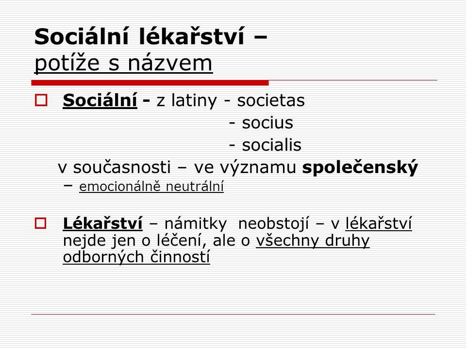 Sociální lékařství – potíže s názvem  Sociální - z latiny - societas - socius - socialis v současnosti – ve významu společenský – emocionálně neutrál