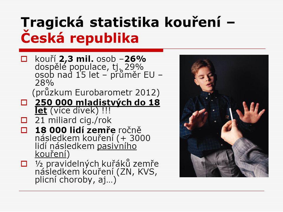 Tragická statistika kouření – Česká republika  kouří 2,3 mil. osob –26% dospělé populace, tj. 29% osob nad 15 let – průměr EU – 28% (průzkum Eurobaro