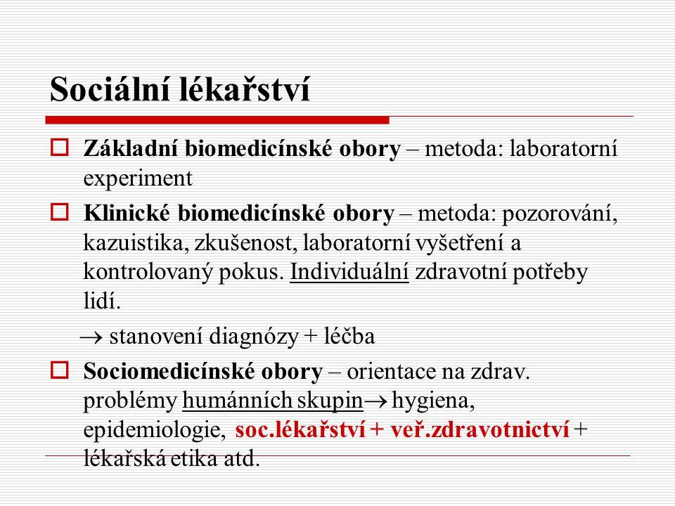 Sociální lékařství  Základní biomedicínské obory – metoda: laboratorní experiment  Klinické biomedicínské obory – metoda: pozorování, kazuistika, zk