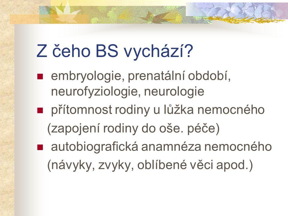 Z čeho BS vychází? embryologie, prenatální období, neurofyziologie, neurologie přítomnost rodiny u lůžka nemocného (zapojení rodiny do oše. péče) auto