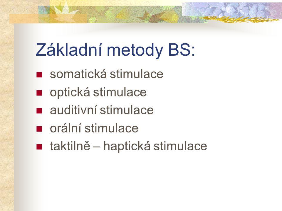 Základní metody BS: somatická stimulace optická stimulace auditivní stimulace orální stimulace taktilně – haptická stimulace
