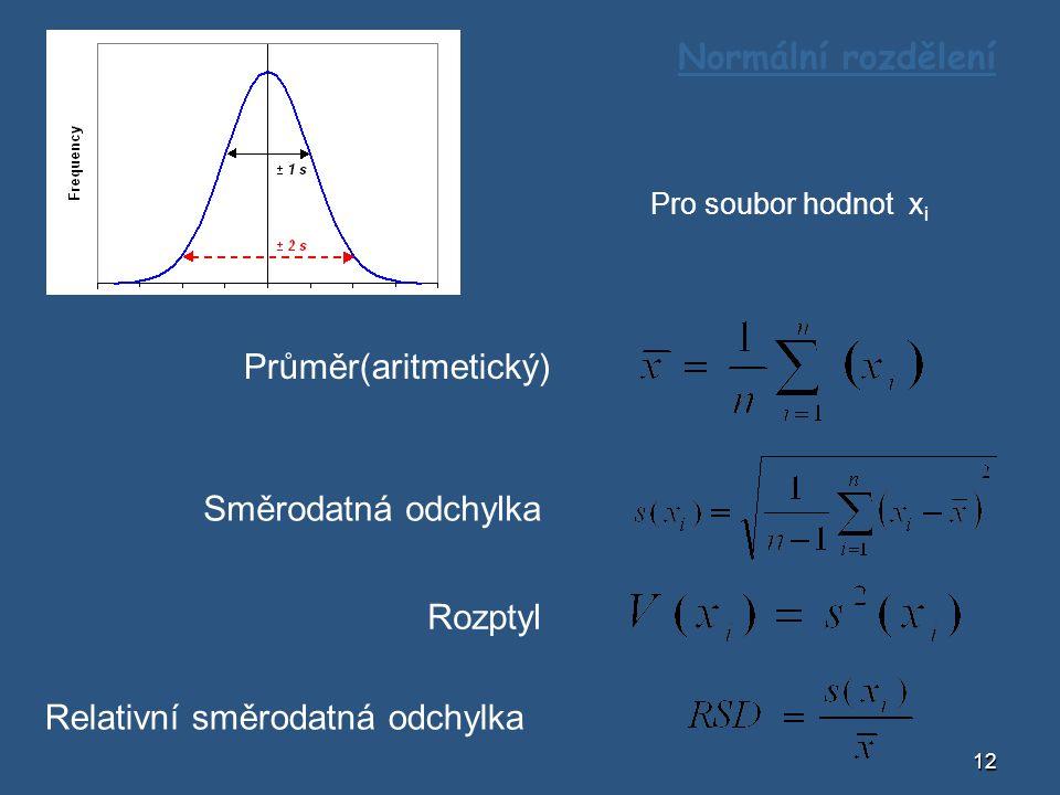 12 Normální rozdělení Pro soubor hodnot x i Průměr(aritmetický) Směrodatná odchylka Rozptyl Relativní směrodatná odchylka