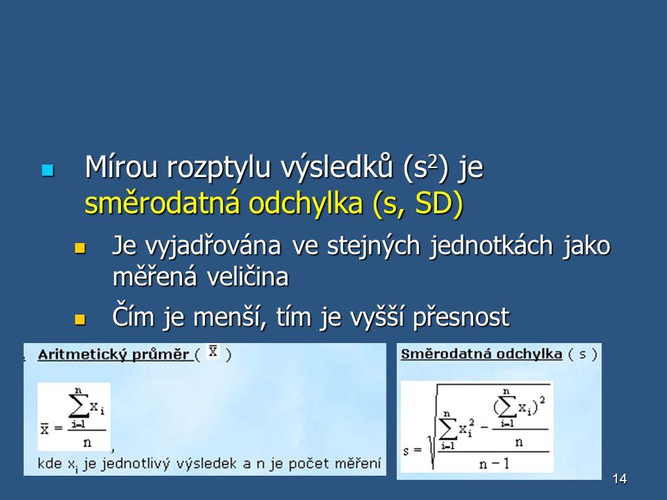 14 Mírou rozptylu výsledků (s 2 ) je směrodatná odchylka (s, SD) Mírou rozptylu výsledků (s 2 ) je směrodatná odchylka (s, SD) Je vyjadřována ve stejn