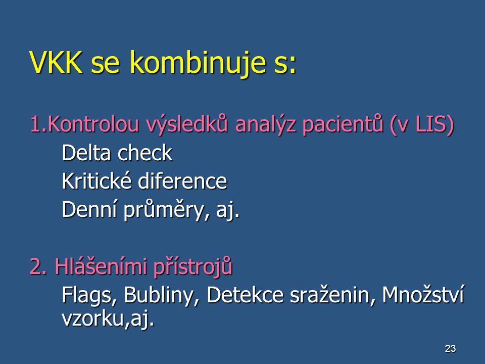 23 VKK se kombinuje s: 1.Kontrolou výsledků analýz pacientů (v LIS) Delta check Kritické diference Denní průměry, aj. 2. Hlášeními přístrojů Flags, Bu