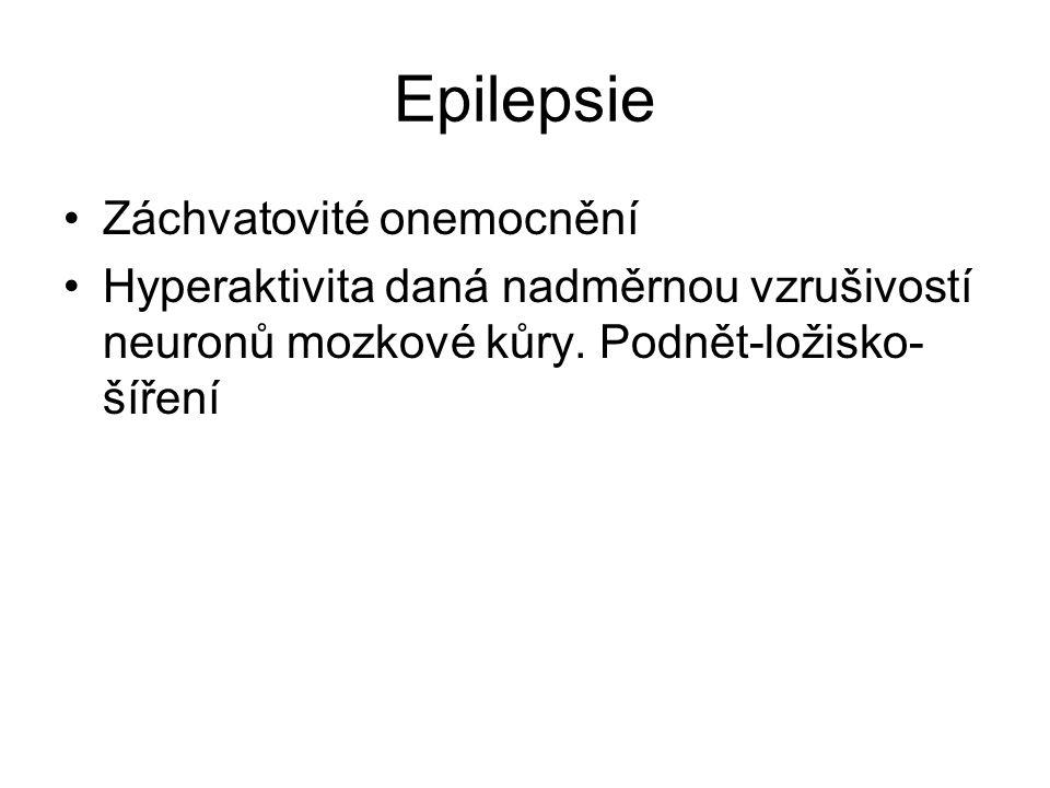 Epilepsie Záchvatovité onemocnění Hyperaktivita daná nadměrnou vzrušivostí neuronů mozkové kůry. Podnět-ložisko- šíření