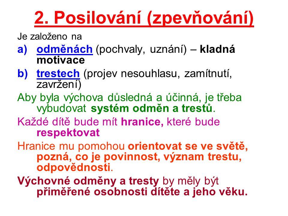 2. Posilování (zpevňování) Je založeno na a)odměnách (pochvaly, uznání) – kladná motivace b)trestech (projev nesouhlasu, zamítnutí, zavržení) Aby byla