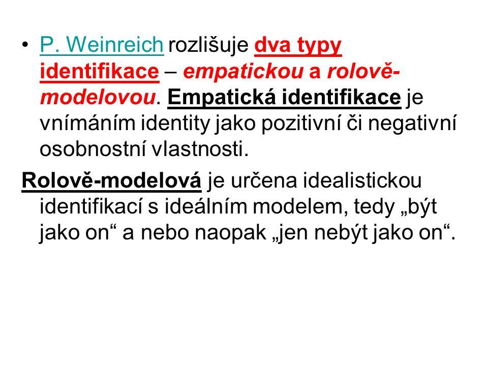 P. Weinreich rozlišuje dva typy identifikace – empatickou a rolově- modelovou. Empatická identifikace je vnímáním identity jako pozitivní či negativní