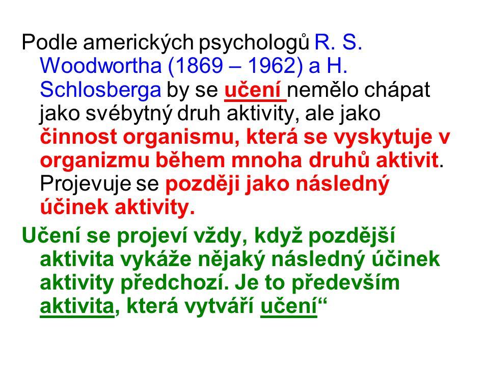 Podle amerických psychologů R. S. Woodwortha (1869 – 1962) a H. Schlosberga by se učení nemělo chápat jako svébytný druh aktivity, ale jako činnost or