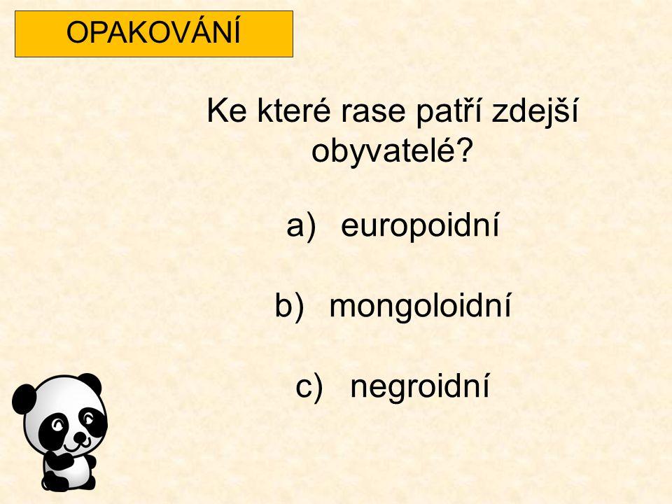 OPAKOVÁNÍ Ke které rase patří zdejší obyvatelé? a)europoidní b)mongoloidní c)negroidní