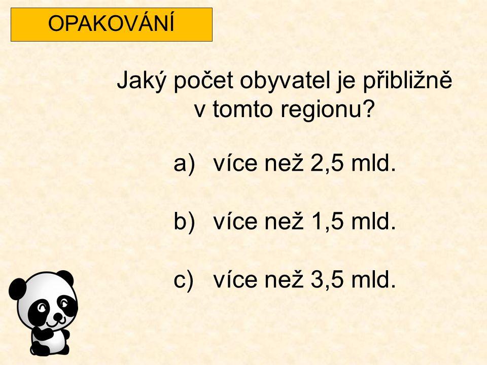 OPAKOVÁNÍ Jaký počet obyvatel je přibližně v tomto regionu? a)více než 2,5 mld. b)více než 1,5 mld. c)více než 3,5 mld.