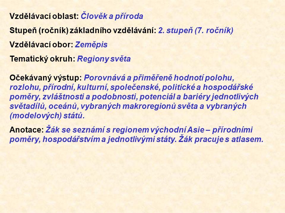 Vzdělávací oblast: Člověk a příroda Stupeň (ročník) základního vzdělávání: 2. stupeň (7. ročník) Vzdělávací obor: Zeměpis Tematický okruh: Regiony svě