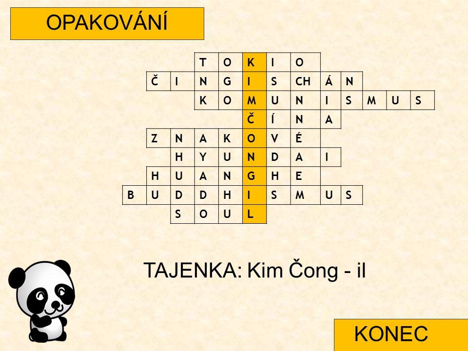 OPAKOVÁNÍ TOKIO ČINGISCHÁN KOMUNISMUS ČÍNA ZNAKOVÉ HYUNDAI HUANGHE BUDDHISMUS SOUL TAJENKA: Kim Čong - il KONEC