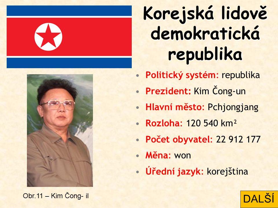 Korejská lidově demokratická republika Politický systém: republika Prezident: Kim Čong-un Hlavní město: Pchjongjang Rozloha: 120 540 km² Počet obyvate