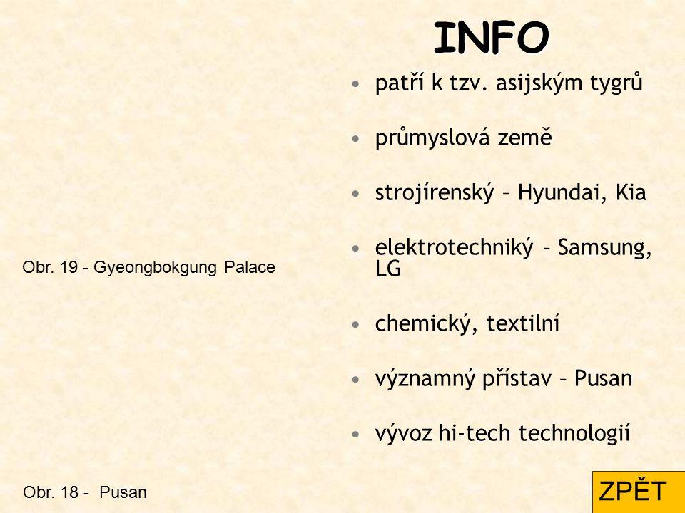 INFO patří k tzv. asijským tygrů průmyslová země strojírenský – Hyundai, Kia elektrotechniký – Samsung, LG chemický, textilní významný přístav – Pusan