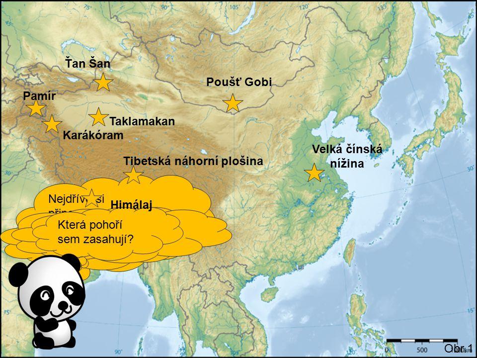 Nejdříve si připomeneme něco z přírodních poměrů tohoto regionu. Obr.1 Připrav si atlas. Začneme pouštěmi. Poušť Gobi Taklamakan Jak se jmenuje největ
