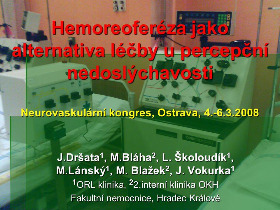 Hemoreoferéza jako alternativa léčby u percepční nedoslýchavosti Neurovaskulární kongres, Ostrava, 4.-6.3.2008 J.Dršata 1, M.Bláha 2, L. Školoudík 1,