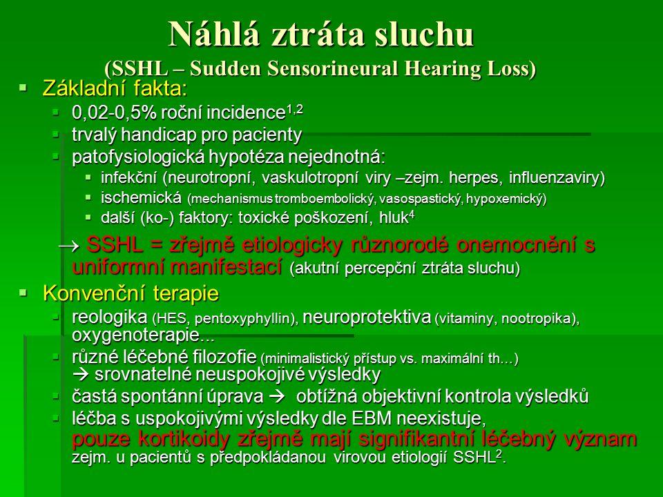 Náhlá ztráta sluchu (SSHL – Sudden Sensorineural Hearing Loss)  Základní fakta:  0,02-0,5% roční incidence 1,2  trvalý handicap pro pacienty  pato