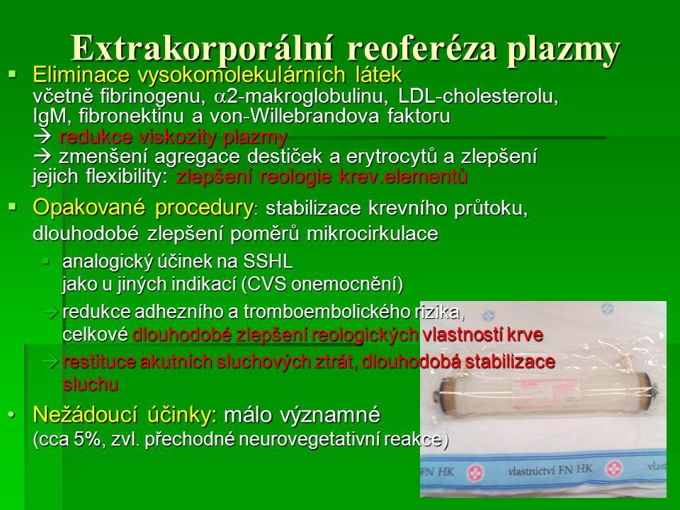 Extrakorporální reoferéza plazmy  Eliminace vysokomolekulárních látek včetně fibrinogenu,  2-makroglobulinu, LDL-cholesterolu, IgM, fibronektinu a v