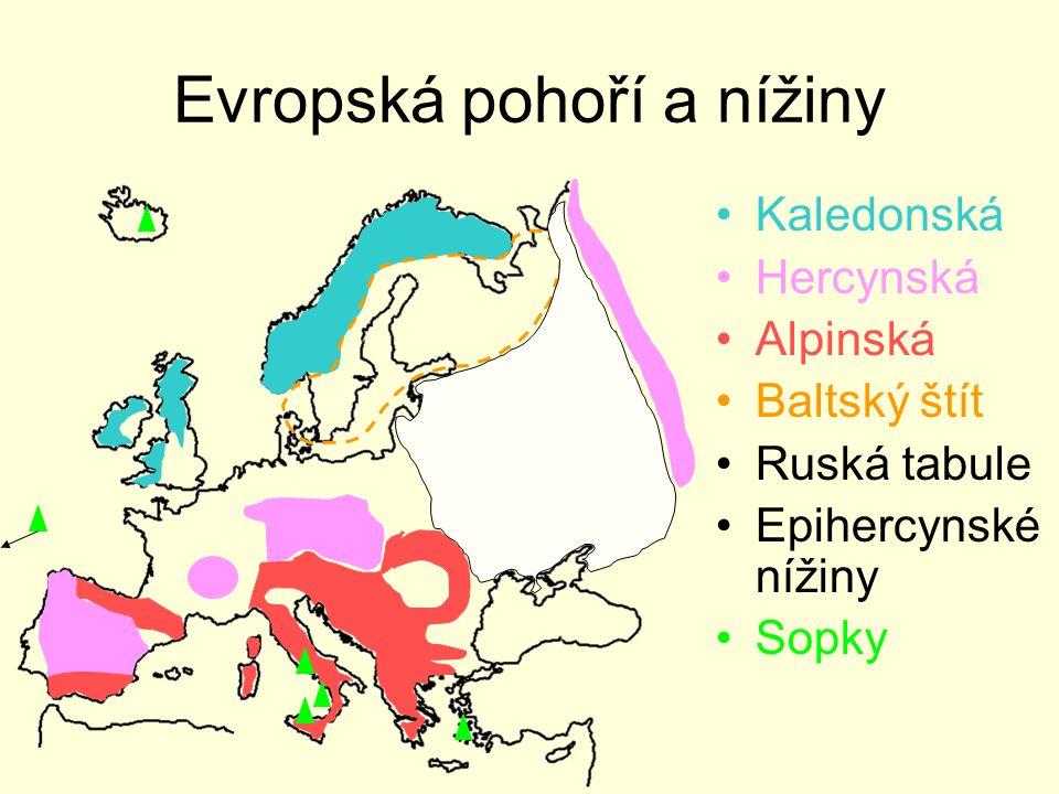 Evropská pohoří a nížiny Kaledonská Hercynská Alpinská Baltský štít Ruská tabule Epihercynské nížiny Sopky