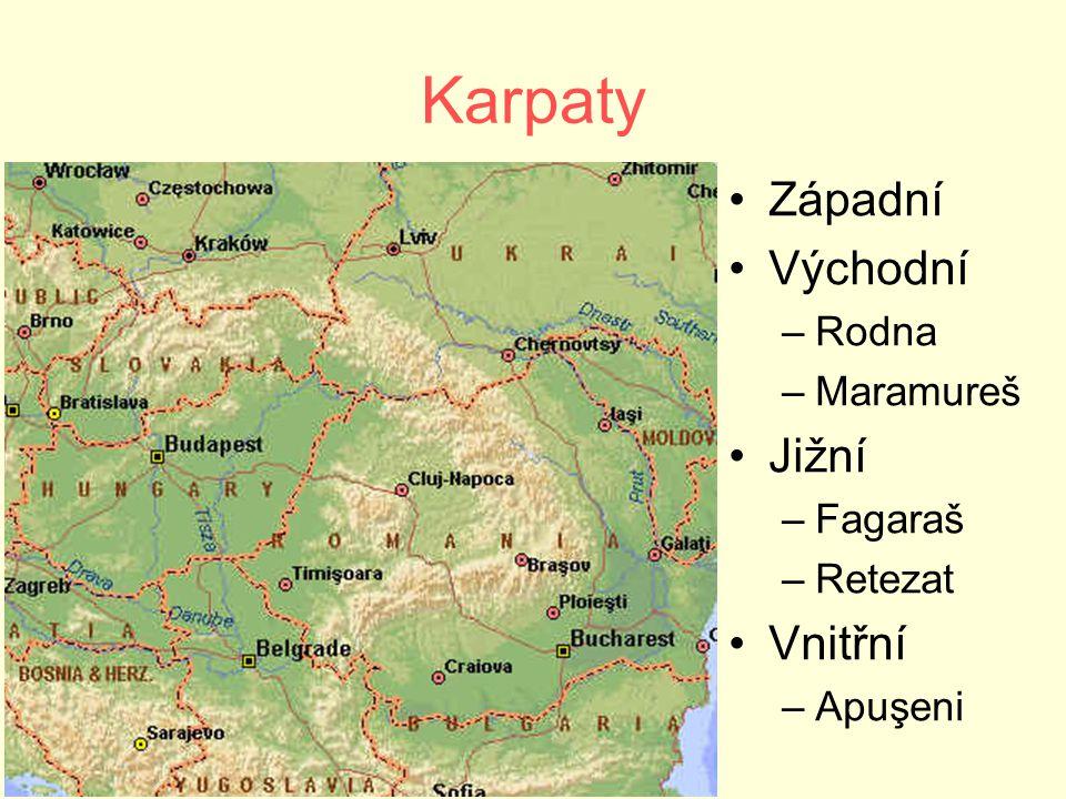 Karpaty Západní Východní –Rodna –Maramureš Jižní –Fagaraš –Retezat Vnitřní –Apuşeni