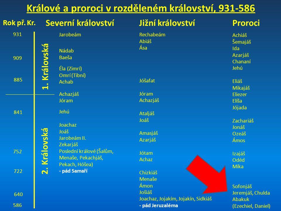 Králové a proroci v rozděleném království, 931-586 931 909 885 841 752 722 640 586 Severní královstvíJižní království 1. Královská JarobeámRechabeám A