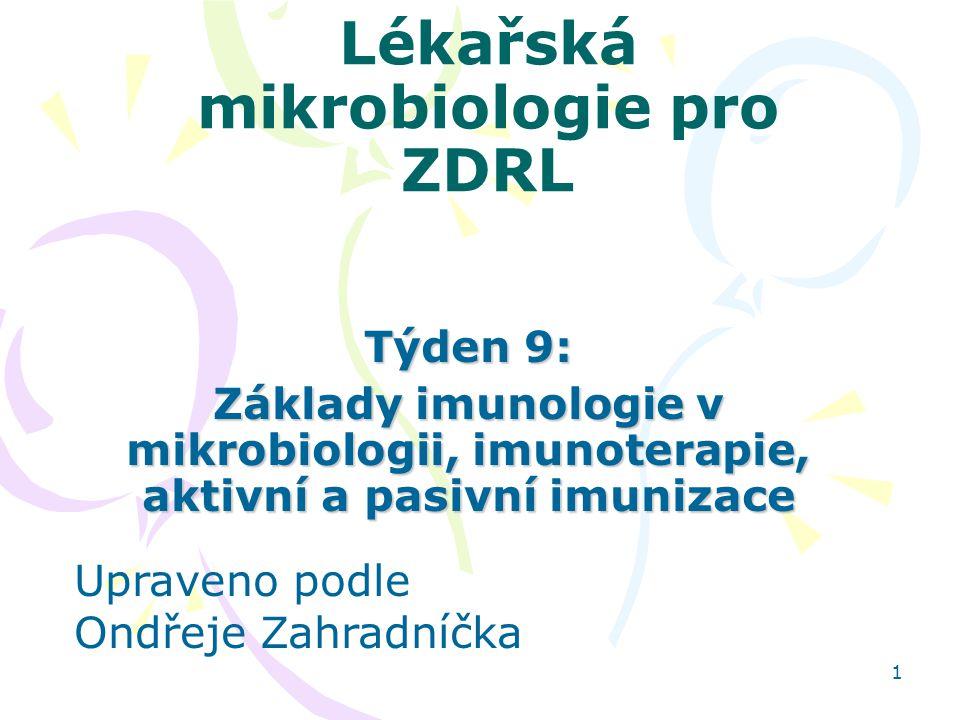 1 Lékařská mikrobiologie pro ZDRL Týden 9: Základy imunologie v mikrobiologii, imunoterapie, aktivní a pasivní imunizace Upraveno podle Ondřeje Zahrad