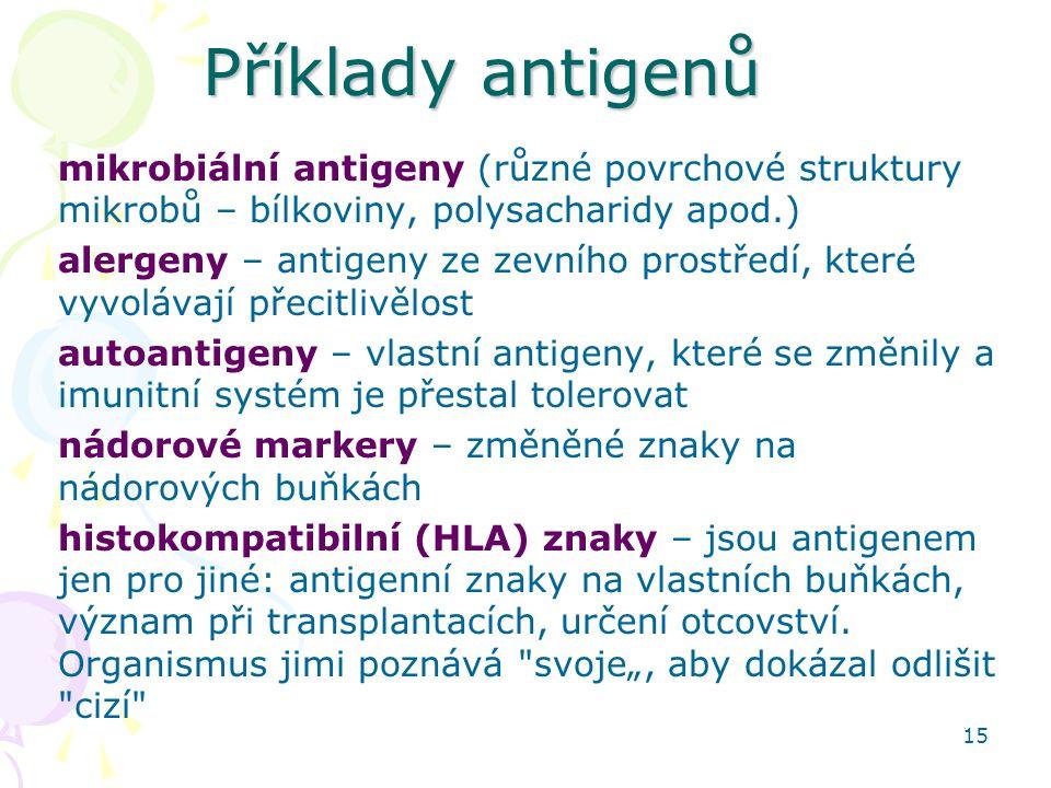 15 Příklady antigenů mikrobiální antigeny (různé povrchové struktury mikrobů – bílkoviny, polysacharidy apod.) alergeny – antigeny ze zevního prostřed