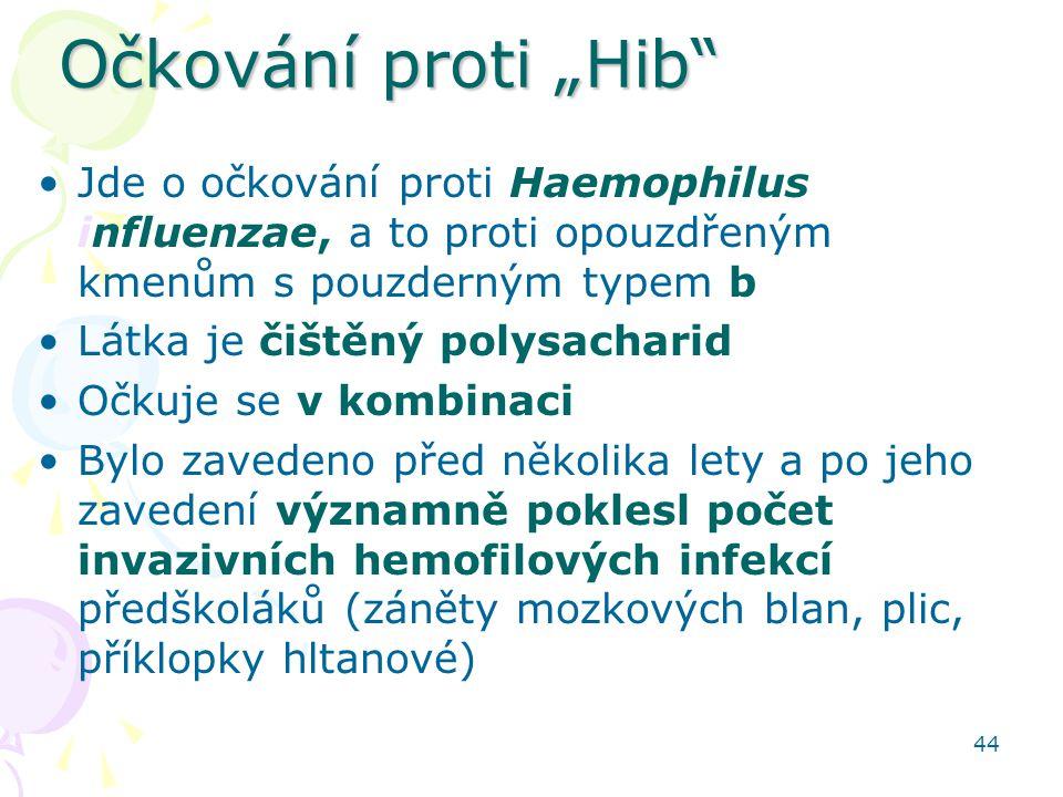 """44 Očkování proti """"Hib"""" Jde o očkování proti Haemophilus influenzae, a to proti opouzdřeným kmenům s pouzderným typem b Látka je čištěný polysacharid"""