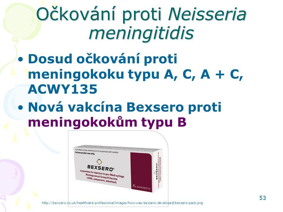 53 Očkování proti Neisseria meningitidis Dosud očkování proti meningokoku typu A, C, A + C, ACWY135 Nová vakcína Bexsero proti meningokokům typu B htt