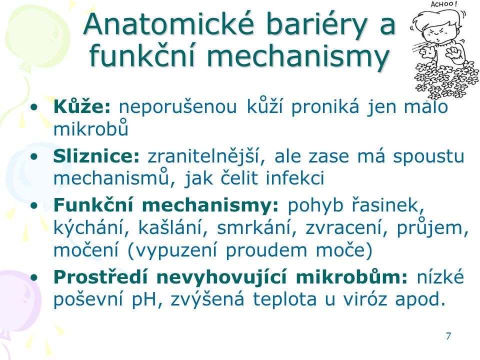 7 Anatomické bariéry a funkční mechanismy Kůže: neporušenou kůží proniká jen málo mikrobů Sliznice: zranitelnější, ale zase má spoustu mechanismů, jak