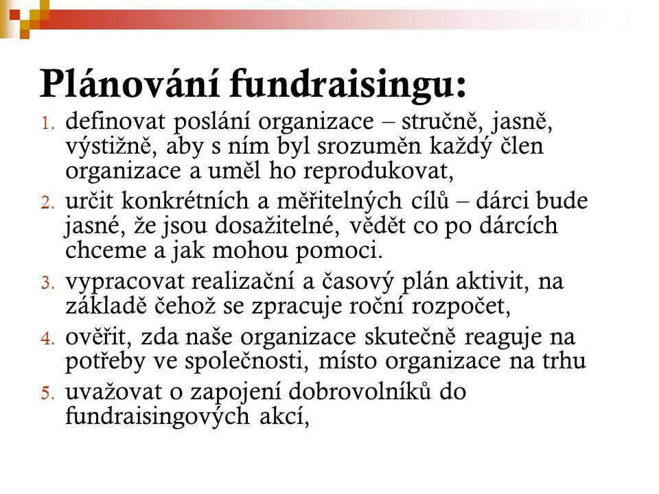 Plánování fundraisingu: 1. definovat poslání organizace – stru č n ě, jasn ě, výsti ž n ě, aby s ním byl srozum ě n ka ž dý č len organizace a um ě l