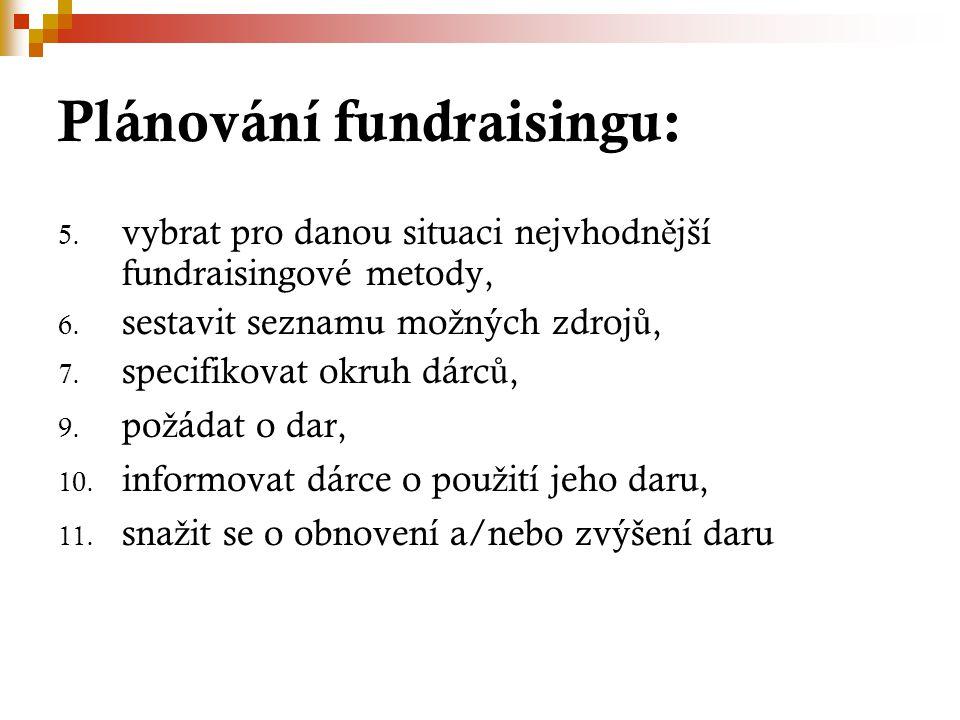 Plánování fundraisingu: 5. vybrat pro danou situaci nejvhodn ě jší fundraisingové metody, 6. sestavit seznamu mo ž ných zdroj ů, 7. specifikovat okruh