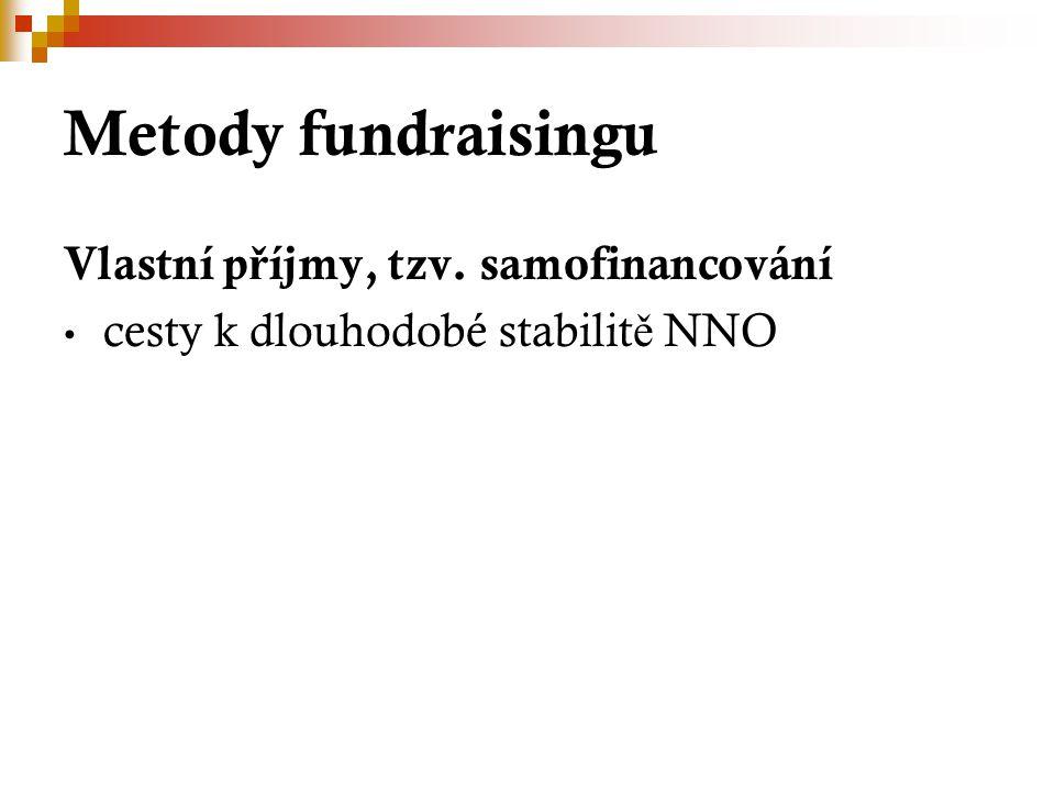 Metody fundraisingu Vlastní p ř íjmy, tzv. samofinancování cesty k dlouhodobé stabilit ě NNO